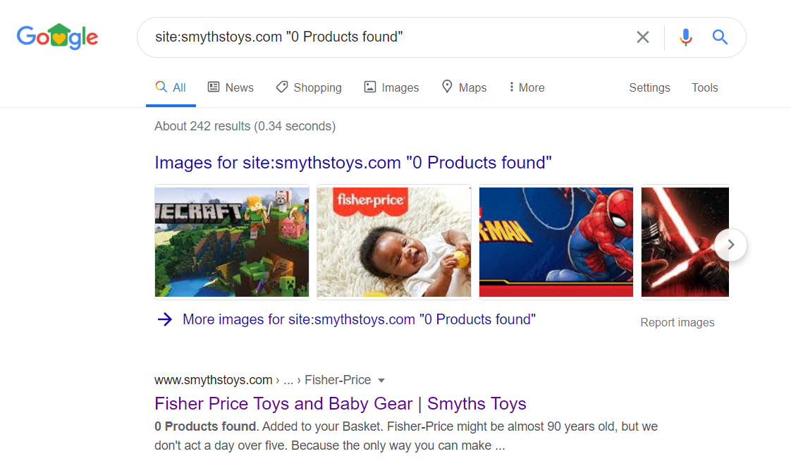 Google SERP - example of empty categories