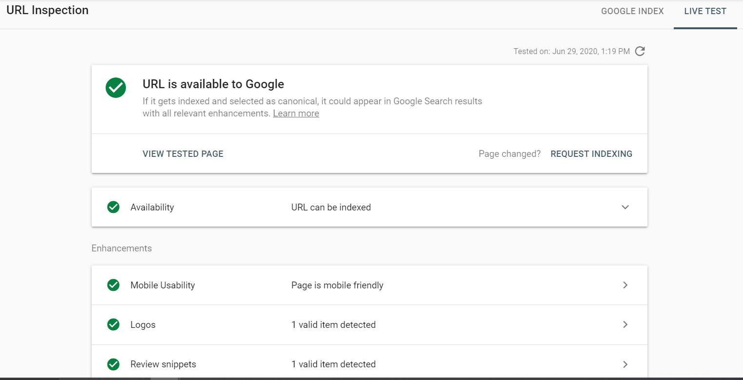 Google Search Console - URL Inspection tool