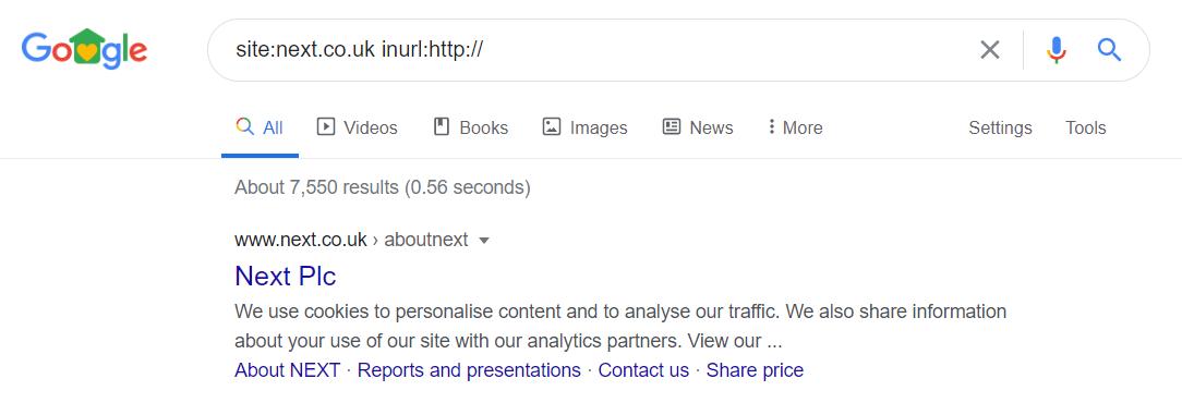 Google SERP - HTTP URL example