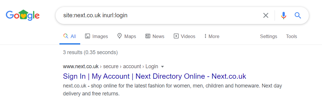 Google SERP - login URL example