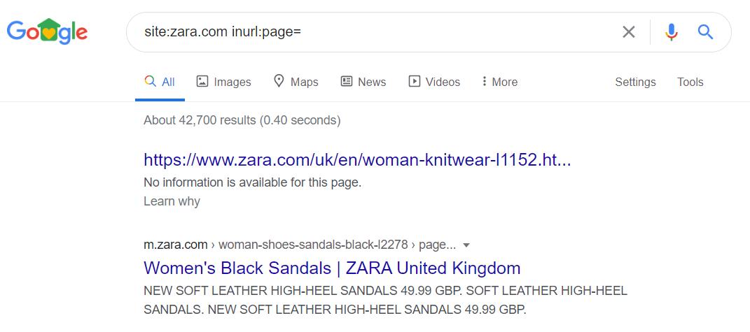 Google SERP - pagination URL example