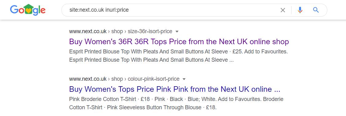 Google SERP - Sort URL example
