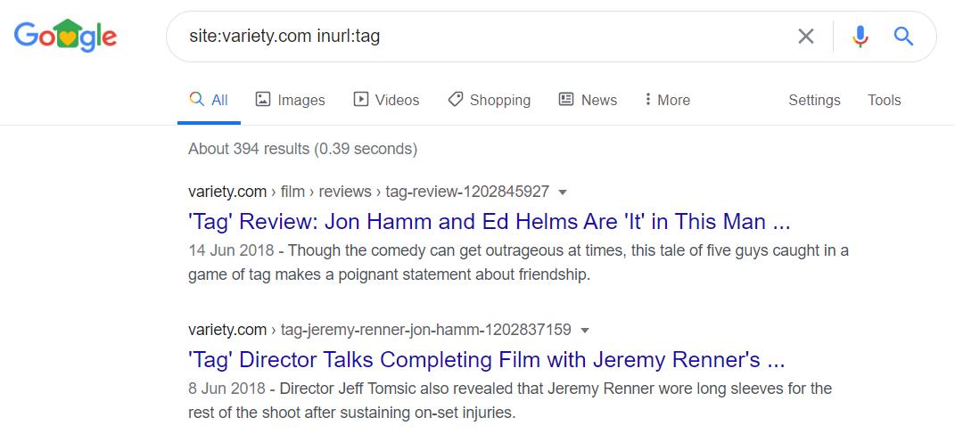 Google SERP - Tag URL example