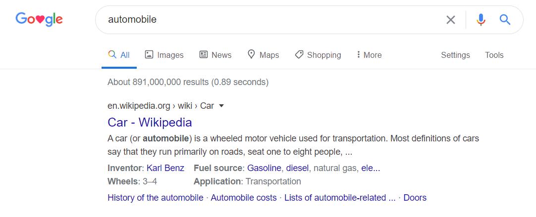 Automobile vs car example