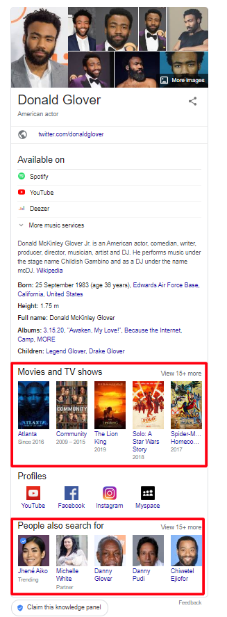 Knowledge graph example of Donald Glover