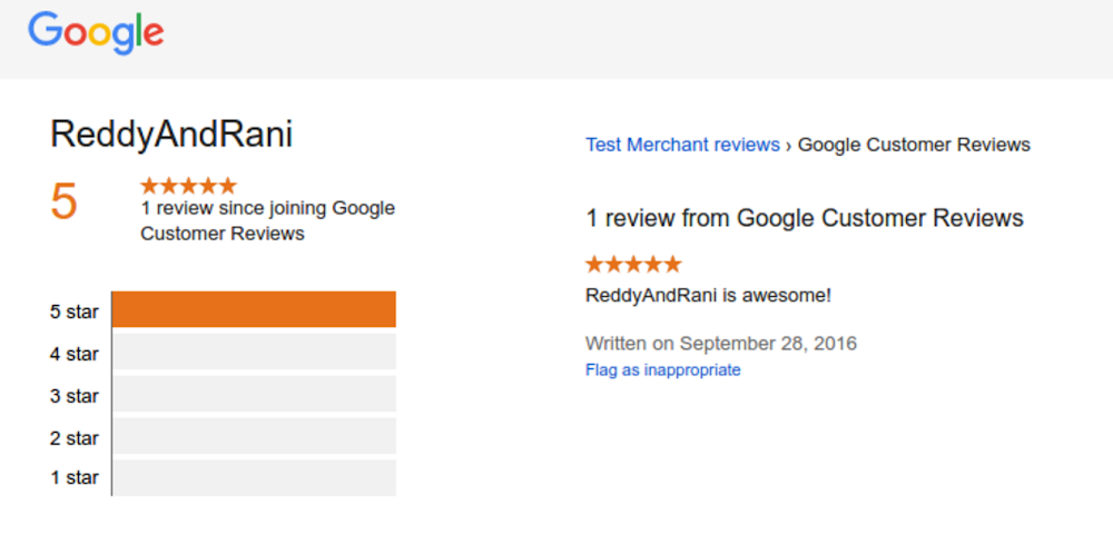 What google customer review look like