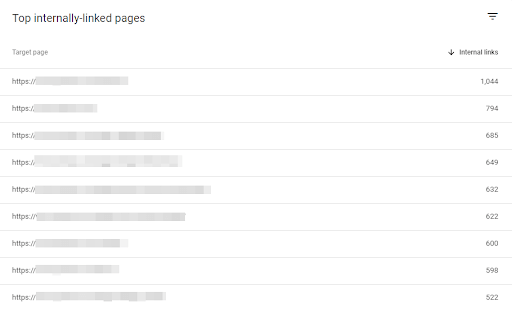 """Screen from the Google Search Console - """"Internal links"""" report"""